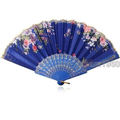Chinese Lace Flower Folding Hand Held Dance Fan Party Women's Gift Decoration
