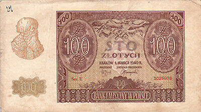 100 Zlotych Vf Banknote From German Occupied Poland 1940!!pick-97