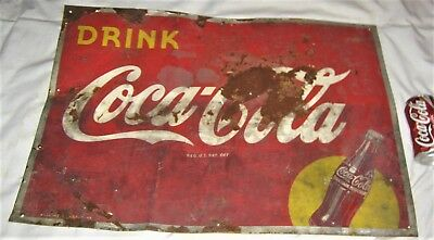 1948 Antique Vintage Usa Coca Cola Soda Metal Tin Art Advertising Store Sign Us