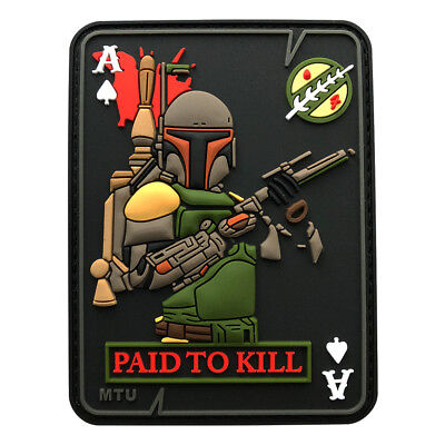 Boba Fett PAID TO KILL Ace Spade Dead Card Patch (3D PVC Rubber-Z4) BY MILTACUSA