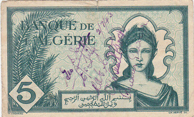 5 Francs Vg Banknote From French Algeria 1942!pick-91!ww2 With Ww2 Short Snorter