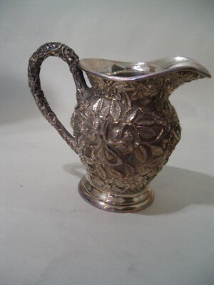 Antique Sterling Silver Repousse Floral Pattern Creamer