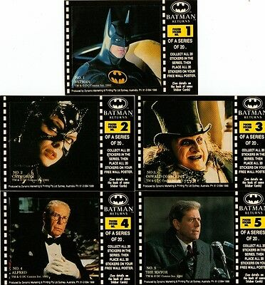 Batman Returns Full 20 Sticker Card Chase Set from Dynamic Marketing