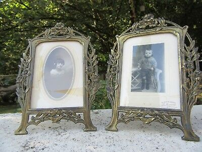 LOVELY ANTIQUE JUGENDSTIL PAIR OF PICTURE FRAMES WITH PICTURE EARLY XX th. C.