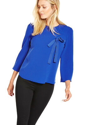 V by Very Ruched Front Blouse in Bright Blue Size 8