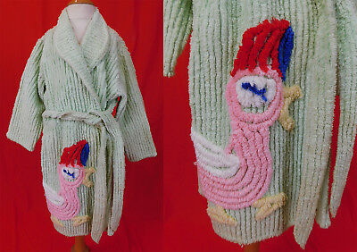 Vintage 1950s Childs Green Tufted Chenille Colorful Chick Duck Belted Robe NWT