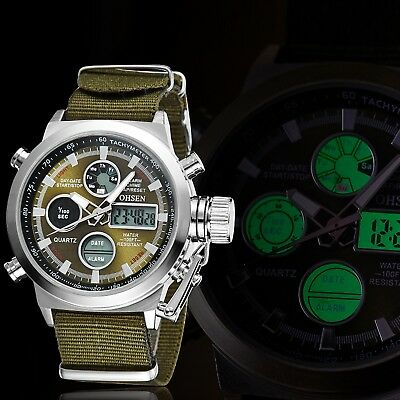 OHSEN Men's LED Stainless Analog Digital Military Sports Quartz Wrist Watch Gift
