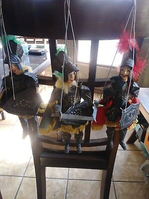 Vintage Italian Marionette Medieval Knight Lot Of 3