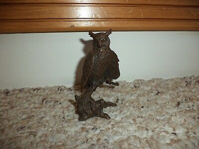 Vintage 1986 Avon Bronze Owl Perched On Branch Figurine
