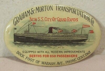 1912~New Steamship City Of Grand Rapids~Celluloid Pocket Advertising Mirror~