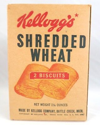 Vintage Kellogg's Shredded Wheat Sample Single Size Cereal Box 1940's era 4 inch