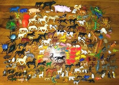 Huge Toy Animal & Insect Lot Vintage + Yowie Horses Pigs Cows Lions Cats Fish