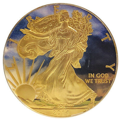2014 1 Oz Ounce American Eagle Silver Field Landscape Colorized Gilded Coin