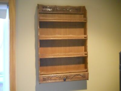 Vintage Display Curio Shelf Hanging Carved Wood