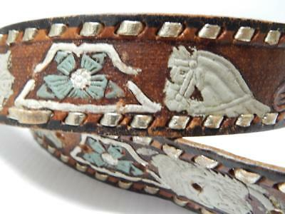Vintage Tooled Painted Western Cowboy Cowgirl Leather Belt - Xlnt Cond Size 38
