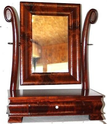 Antique Carved Mahogany Federal 1 Drawer Victorian Swivel Dresser Mirror