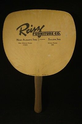 Vtg Hand-Held Fan Advertising Reisz Furniture Co New Albany & Salem, Indiana