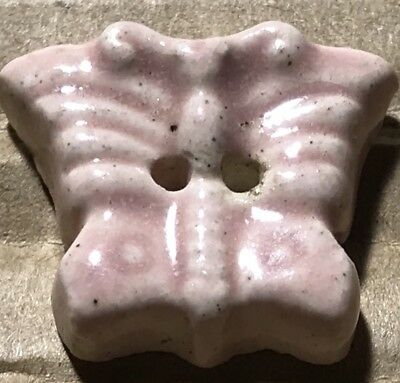 Vintage 1940s French Ceramic Pottery BUTTERFLY Realistic Button w Pink Glaze 3/4