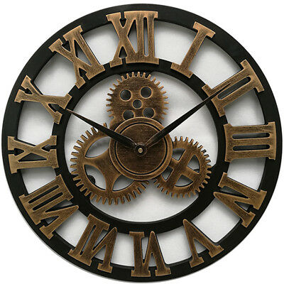 Oversized 3D Rustic Decorative Art Gear Wooden Vintage Large Wall Clock IN9X