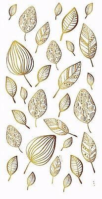 "New Design Leaves in Gold or Silver 3-1/2"" X 7-1/4"" Sheet Ceramic Decals Dx"