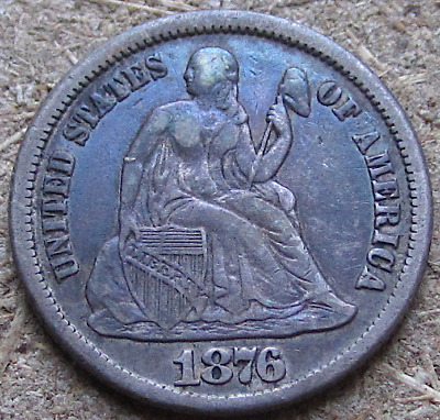 1876-CC Liberty Seated Dime, Carson City Mint Issue, Nicely Toned Type Coin, VF