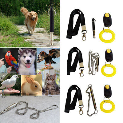 Pet Dog Ultrasonic Training Whistle Cat Bird Clicker Bark Control Lanyard Set