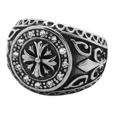 Signet Ring Cross of Templars Heraldic Lily Crystal Transparent Stainless Steel