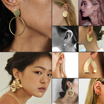 Women Fashion Design Large Circle Geometry Alloy Ear Stud Earrings Jewelry 2018
