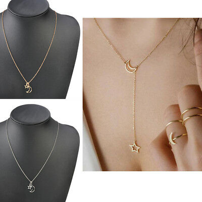Women Simple Necklace Jewelry Gold Silver Moon Star Long Pendant Choker Chain