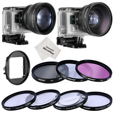 Neewer 52mm Lens & Filter Kit with 52mm 2X Telephoto Lens for GoPro Hero 3+ 4