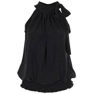 Ladies Womens Pleated Sleeveless Ruched Halter Neck Tie Up Party Blouse Top Z