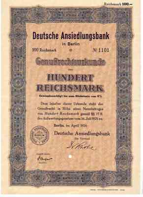 Deutsche Ansiedlungsbank  1926 Berlin