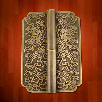 4 Hinge Chinese Furniture Brass Hardware Trunk Cabinet Door Copper Dragon 3.15''