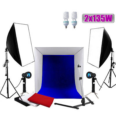 Photography Photo Studio Cube Tent 4 Backdrops Softbox Lighting Light Stand KIT