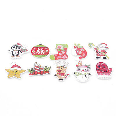 50Pcs Christmas Theme Picture Mixed Color Wood Button Sewing Craft Upick Craft Z