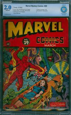Marvel Mystery Comics # 29  Classic Torch cover !  CBCS 2.0 scarce GA Timely !