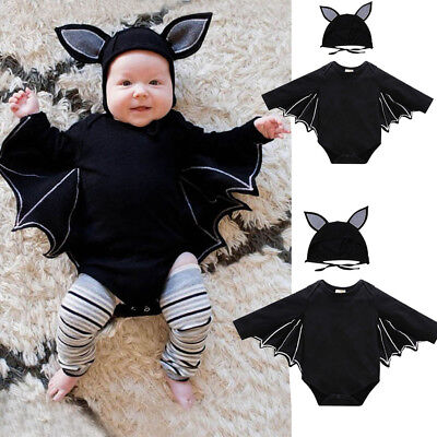 New Boys Girls Baby Bat Halloween Outfit Animal Toddler Fancy Romper Costume+Hat