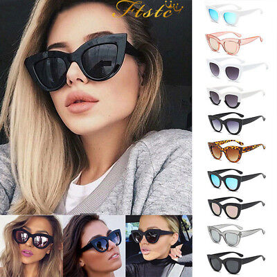 Luxury Ladies Womens Oversized Cat Eye Sunglasses Vintage Style Retro Shades DL