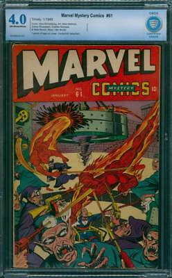Marvel Mystery Comics # 61  Classic Torch cover !  CBCS 4.0 scarce GA Timely !
