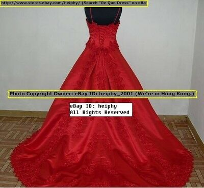STOCK Gorgeous* Sexy* Thick Satin Goth Red Wedding Dress Plus Size 22 20,26 61r