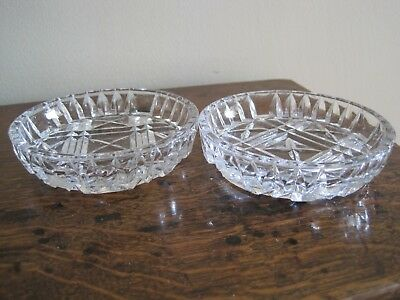 Pair of  Stunning Vintage Crystal / Cut Glass Butter  / Trinket Dishes