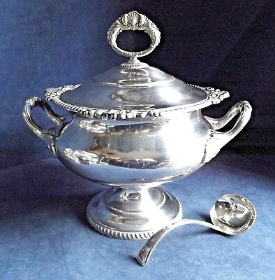 "SUPERB Large 12"" ~ SILVER Plated ~ Soup / Serving TUREEN ~ c1900"