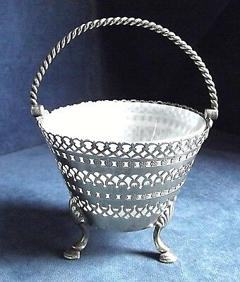 SMART ~ SILVER Plate & Milk GLASS ~ Bon Bon / Caviar BASKET ~ c1900