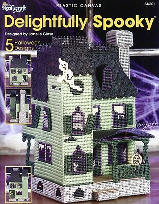 Delightfully Spooky Haunted House + Coasters & Decor plastic canvas patterns NEW