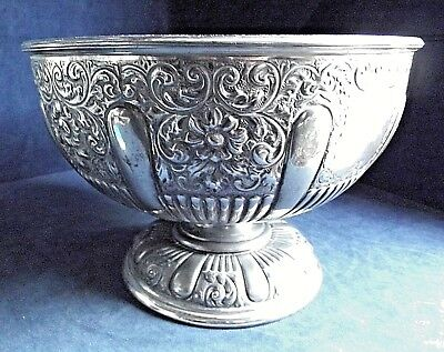 "SMART Large 10"" ~ SILVER Plate ~ ORNATE Fruit / Cake BOWL ~ c1900 by James Dixon"