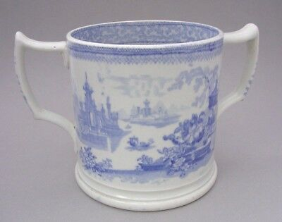 Nineteenth Century Large Staffordshire Ironstone Blue And White Loving Cup