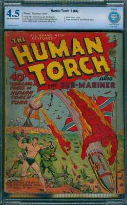 Human Torch # 4  First Nazi War Cover !  CBCS 4.5 scarce GA Timely !