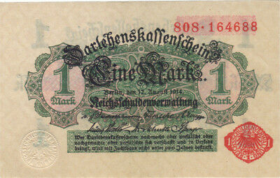 1914 1 Mark Germany Currency Unc German Banknote Note Money Bank Bill Cash Wwi