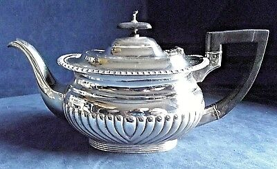 GOOD Large ~ SILVER Plated ~ BULBOUS Fluted ~ TEAPOT ~ c1920 by James Lewis