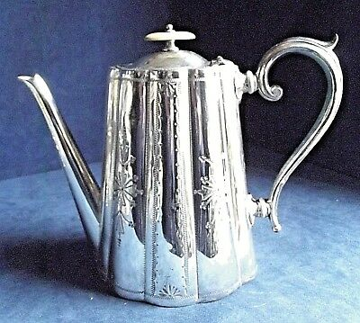 SUPERB Large ORNATE ~ SILVER Plated ~ Engraved TEAPOT ~ c1890